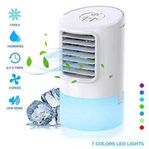 Nobebird Condizionatore portatile mini air cooler per climatizzazione con 2 timer 3 velocit del vento 7 colori diversi bianco