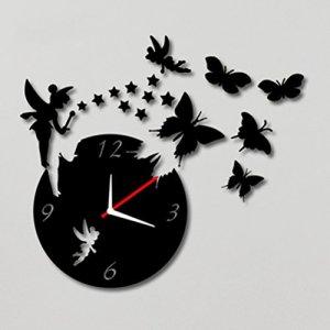 Pixnor Orologio fai da te da parete in cristallo a specchio 3D con angeli farfalle stelle e figurine moderna decorazione per la casa e il soggiorno nero