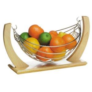 Premier Housewares Piccola amaca per frutta in legno e metallo cromato