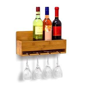 Relaxdays Scaffale Portabottiglie Vino con Porta Bicchieri Integrato per 4 Bottiglie e Portabicchieri 4 Posti Montaggio Parete H X B X T 17 X 37 X 115 cm Naturale marrone plastica