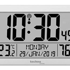 Technoline WS8016 WS 8016  Orologio da Parete radiocontrollato con indicatore della Temperatura in plastica 225 x 143 x 24 mm Colore Argento