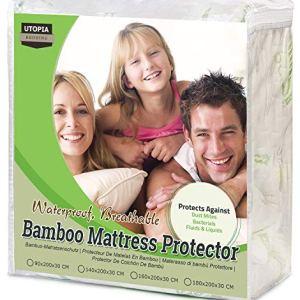 Utopia Bedding Coprimaterasso Impermeabile 160 x 200 cm  Bambu Copri Materassi  Coprimaterasso Adattabile Ipoallergenico 160 x 200 x 30 cm