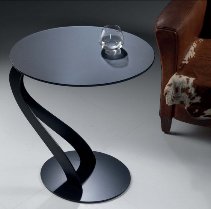 swan small table by pezzani with etched tempered glass top