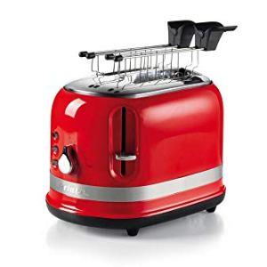 Ariete 0149 Tostapane 2 fette Moderna con pinze Espulsione Automatica Cassetto raccogli briciole Funzione scongelamento e Riscaldamento 6 Livelli di doratura 800 W Plastica Rosso