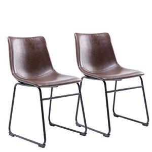 RFIVER Sedia da Sala da Pranzo Stile Vintage con Sedile in Pelle PU e Robusta Base in Metallo per Cucina Soggiorno Set di 2 Marrone BS1003