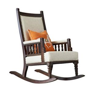 Rocking chair Sedia a Dondolo Health UK Vintage Country Home in Legno massello e Pelle reclinabile