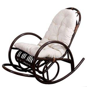 Sedia a dondolo Derby 139x58x110cm legno seduta poliestere cotone  cuscino bianco