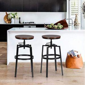 Sgabelli da BarSet di 2 Sgabello da Cucina RotondiAltezza RegolabileSgabello da Colazione Regolabile a 360 con Poggiapiedi  Struttura in MetalloStile Vintage Industriale36  36  61735cm