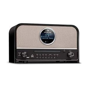 auna Columbia DAB Radio  Radio Bluetooth Lettore CDMP3 Radio Nostalgica 60 W max Sintonizzatore DAB FM Radiosveglia Sleep Timer Stereo AUX USB Display LCD Design Retro Nero