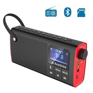 Avantree SP850 Mini Radio Portatile FM Radiolina Tascabile con Batteria Ricaricabile Cassa Audio Altoparlanti Bluetooth e SD Card Mp3 Player Tutto 3 in 1 Auto Scansione  Memorizzazione