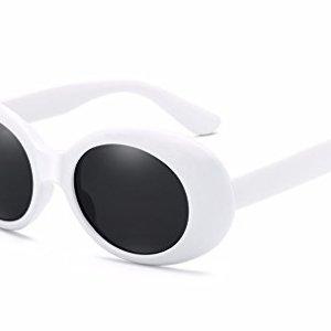 BOZEVON Retr Occhiali da sole Ovali  Vintage UV400 Occhiali Donna  Uomo BiancoNero C1