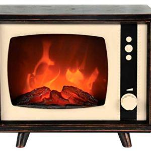 Caminetto decorativo finto a LED con effetto fuoco fiamma simulazione camino forma di televisore TV vintage