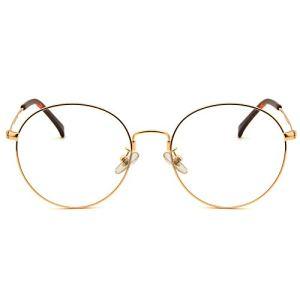 Cyxus Occhiali luce blu bloccanti per il blocco della cefalea UV Anti Eyestrain Occhiali retr unisex uominidonne Oro