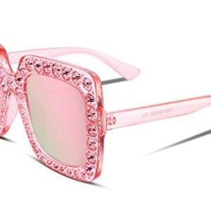 FEISEDY Occhiali da sole con cristalli scintillanti da donna Cornice quadrata spessa oversize B2283