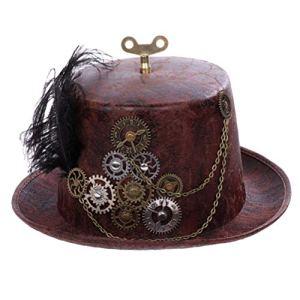Happyyami Cappello Vintage Steampunk Cappello da Mago Gotico Costume Cappello Cappello con Attrezzatura Rubinetto per Donna Uomo