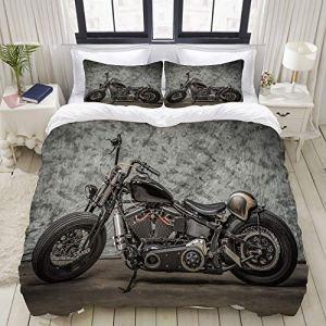 MOBEITI Set Biancheria da LettoHarley Moto Cool Davidson Vintage Bike Chopper ClassicSet Copripiumino in MicrofibraMatrimoniale1 Copripiumino220 x 240cm  2 federe 50 x 80 cm