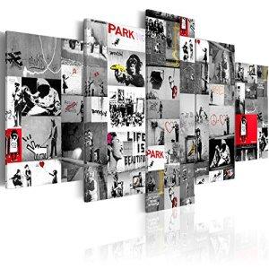 murando Quadro 200x100 cm 5 Pezzi Stampa su Tela in TNT XXL Immagini Moderni Murale Fotografia Grafica Decorazione da Parete iC0092bp Banksy Collage