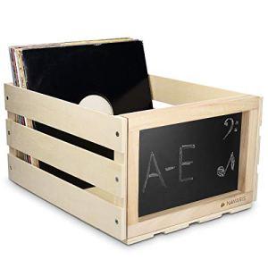 Navaris Cassetta dischi vinile in legno  Cassa porta vinili 66 dischi LP  Record box 43x34x23cm da montare  Cassettina con lavagna  beige