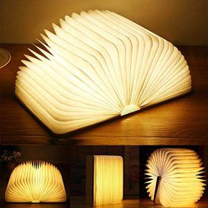ANSTEN Lampada Libro USB Ricaricabile Lampada a Forma di Libro Luce LED di Legno Decorativi Lampada da Tavolo 880mAh Mini Lampada a Libro