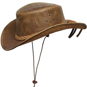 BRANDSLOCK Mens Vintage Grande Bordo del Cowboy Australiano di Stile Occidentale Bush Cappello con Chin Cord Marron XL
