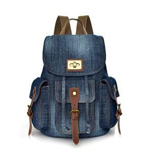 CHEREEKI Zaino Zaino Borsa Jeans Vintage con Tasche Multiple per Laptop da 14 pollici per Daypack Casual Scuola e Viaggio