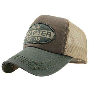 Decentron  Cappello da baseball snapback da uomo stile vintage regolabile in rete per esterni Army Green Medium