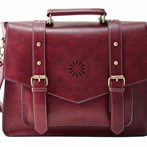 ECOSUSI Borsa Tracolla Donna Borsa Messenger Donna per Laptop 14 Borsa Vintage per Lavoro Rosso
