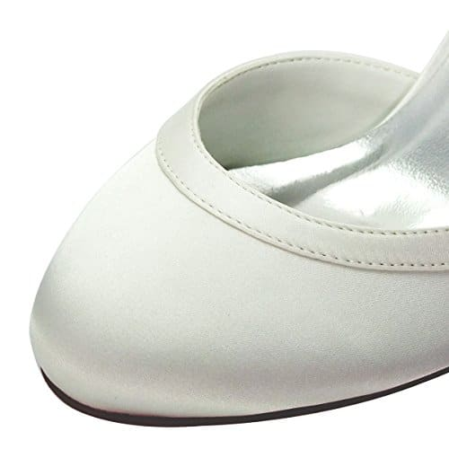 Elegantpark HC1509 Scarpe da Sposa con Tacco Scarpe Chiuse Donna Avorio 38 UK 5