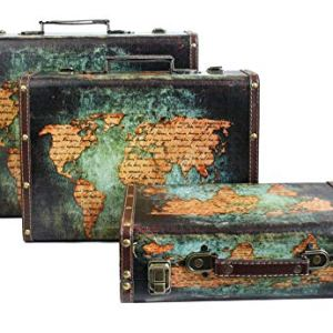 Emartbuy Set di 3 Scatole Stile Valigia Bagaglio Portaoggetti Decorative retr Stampate con Manico in Ecopelle e Chiusure Metalliche di Bloccaggio  Mappa del Mondo