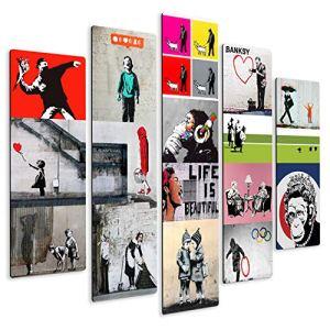 Giallobus  Quadro multipannello  Banksy  Collage  Stampa su Legno MDF  Pronto da Appendere  140x100 cm