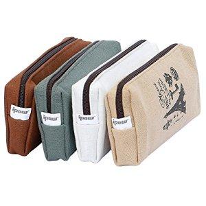 ipow 4pz Astuccio portapenne Astuccio vintage Astuccio scuola Astuccio a bustina in tela e cerniere Lavabile Misura ideale 21 x 88 x 45 cm o come borsa per cosmetici o portamoneta