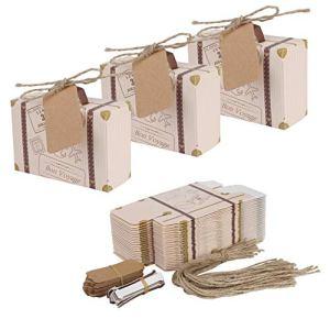 Mini Valigia 50 pezzi regalo Vintage Candy Box con Cartellini in Carta Kraft e Filo di Juta per nozze festa a tema viaggi nuziale doccia decorazione