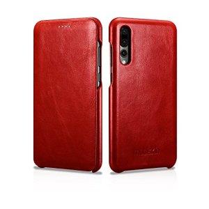 Mobiskin Custodia per Huawei P20 PRO Case con Rivestimento Esterno in Vera Pelle Custodia Protettiva Astuccio per Telefono Cover UltraSottile Rosso Vintage