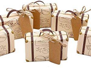Scatole regalo set di 50 mini valigie vintage con decorazioni in iuta per matrimoni compleanni baby shower