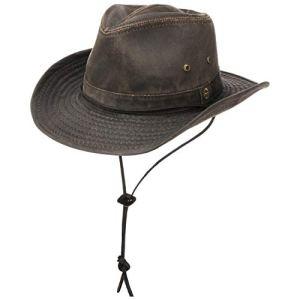 Stetson Diaz Cappello Outdoor DonnaUomo  da Cowboy di Tessuto Disegno Vintage con sottogola pistagna Frange EstateInverno  S 5455 cm Marrone