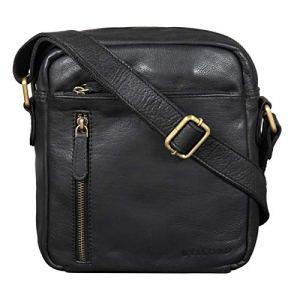 STILORD Hugo Borsello Pelle Morbida Uomo Borsa Tracolla Piccola Vintage Borsetta Messenger Cross Body Bag per Tablet 97 pollici Colorenero