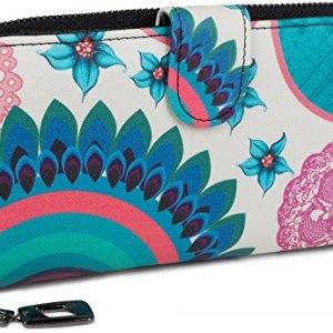 styleBREAKER portafogli con fiori e etnici e design colorato design vintage chiusura con cerniera portamonete donna 02040040 coloreBiancoTurcheseBlu