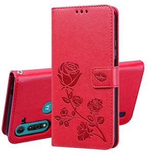 XIFAN Custodia Flip per Motorola Moto G8 Power Lite 65 Custodia in Rilievo 3D Custodia a Portafoglio in Pelle Vintage con Supporto e Costruita in Chiusura Magnetica Rosso