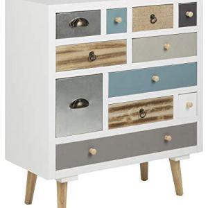 AC Design Furniture 63374 Cassettiera Suwen Multicolor in Castagno Gambe in Legno di Pino LACca Trasparente 11 pezzi Bianco