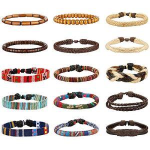 Milacolato 15Pezzi Pelle Vintage Bracciali per Uomo Donna Braccialetti Braccialetto Perle di Legno Canapa Cords Etnico Tribal Charm Elastico