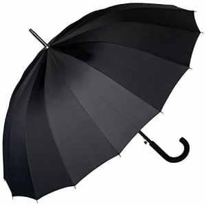 VON LILIENFELD Ombrello Pioggia Lungo Classico Grande Automatico Donna Uomo Stabile 16 Segmenti Devon nero