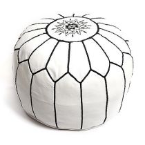 UN-STUFFED-MOROCCAN-GENUINE-LEATHER-POUF-WHITE-BLACKPOUFFEOTTOMANFOOTSTOOL