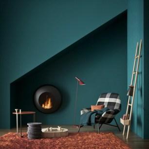 wanfarben-ideas-dark-green-paint-orange-carpet-modern-fireplace-living-room