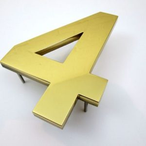 200mm high brass house numbers