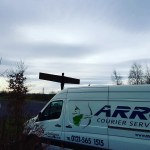 """img src=""""Arrow-cOuriers-Angel-of-the-North.jpg"""" alt=""""Arrow couriers Crafter with the Angel of the north in the background"""""""