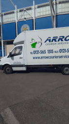 "img src=""Leicester-City.png"" alt=""Arrow Couriers parked outside Leicester City Football Club"""