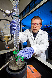 ARS chemist Bryan Moser makes biodiesel from pennycress. Link to photo information