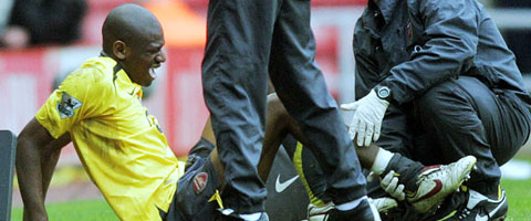 Diaby was seriously injured against Sunderlund