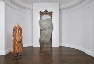 (Left) David Hammons, Fur Coat, 2007. (Right) David Hammons, Untitled, 2014.