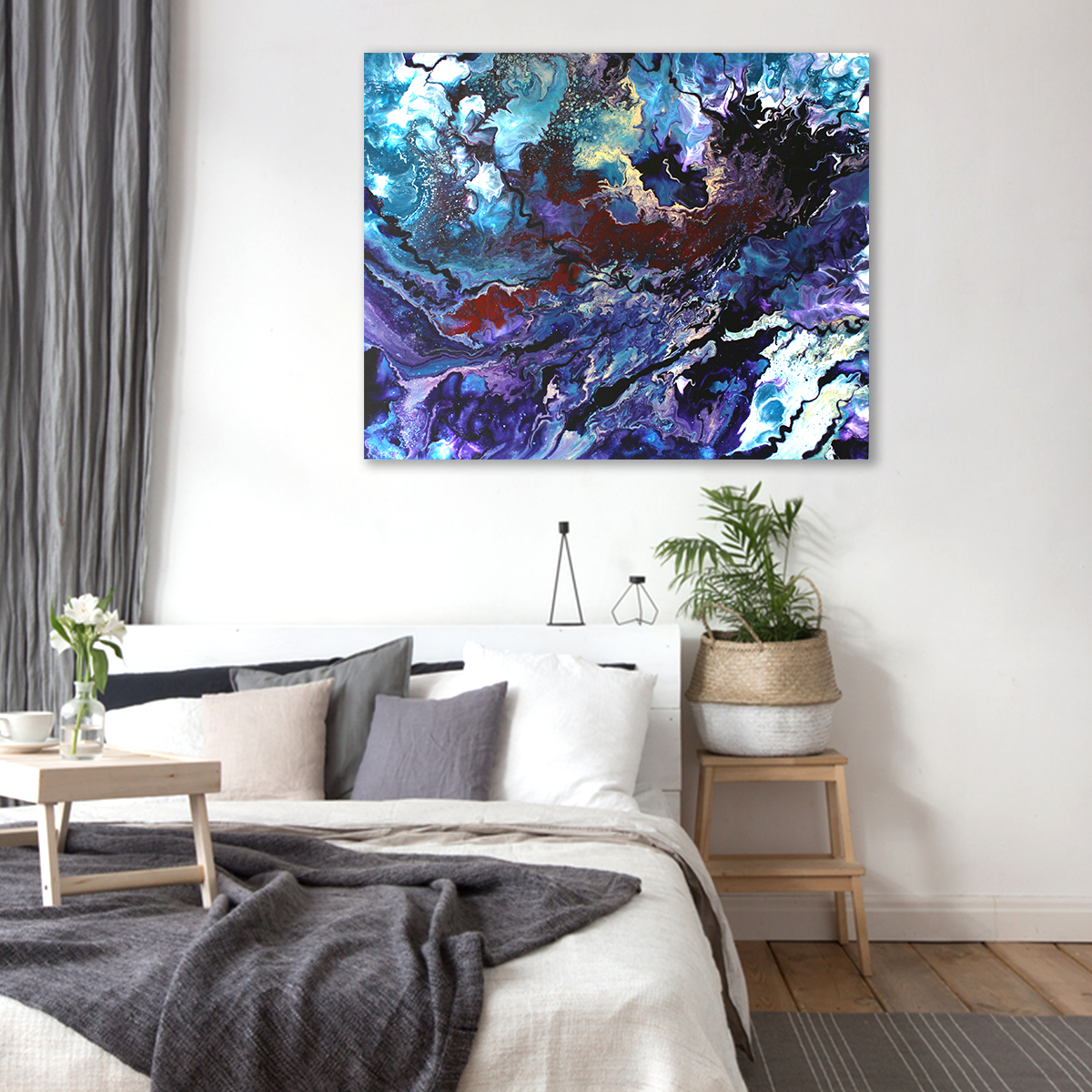 abstract schilderij Impulsion in een slaapkamer